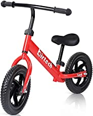 Birtech Balance Bike for 2-6 Years Old Kids 12 Inch Toddler Balance Bike Kids Indoor Outdoor Toys No Pedal Training Bicycle with Adjustable Seat Height, Red