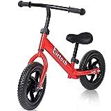 Hadibio Bicicleta sin pedales para niños a partir de 1, 2, 3 y 4 años, no Pedal Balance de 12 pulgadas, bicicleta deportiva con marco de acero, manillar ajustable y asiento para niños, color rojo