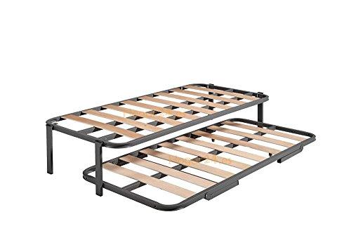 HOGAR24 ES Cama Nido con 2 somieres Estructura Reforzada Doble Barra Superior + Patas, Acero, 90x190 cm