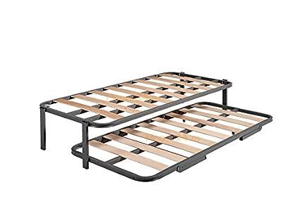 HOGAR 24 Cama Nido con 2 somieres Estructura Reforzada Doble Barra Superior + Patas, Acero, 90x190 cm