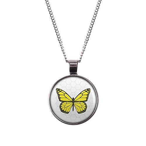 Mylery Halskette mit Motiv Schmetterling Gelb Silber 28mm
