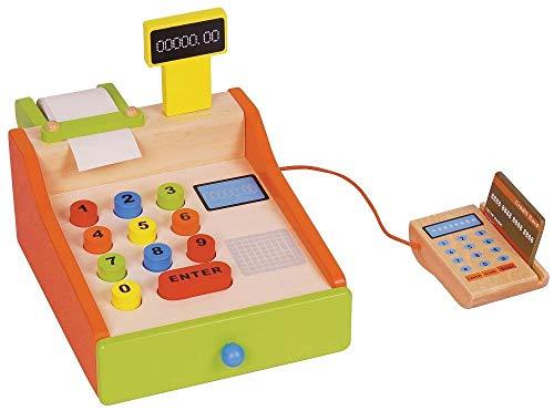 Lelin Caja registradora de juguetes de madera naranja y verde L40061