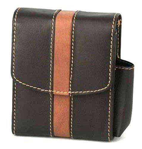 Unbekannt Zigaretten Packungsetui Leder schwarz Big Pack mit Magnet-Verschluß, Fzg.-Fach seitlich