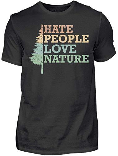 HOLZBRàœDER Hate People Love Nature T-Shirt perfekt für die Arbeit oder das Hobby im Wald, Schwarz, M