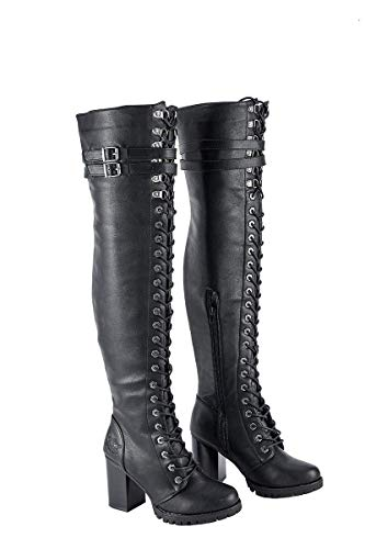 Milwaukee Riders Womens Motorcycle Boots Ladies Knee High Laced Boots (8) Black