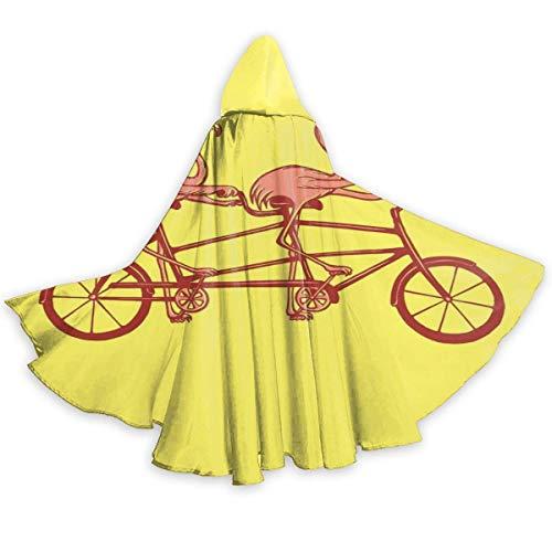 Amanda Walter Capa de Capa para Adultos Flamencos Rosados en Bicicleta tndem Capa Unisex con Capucha para Halloween Fiesta de Navidad Disfraces de Cosplay