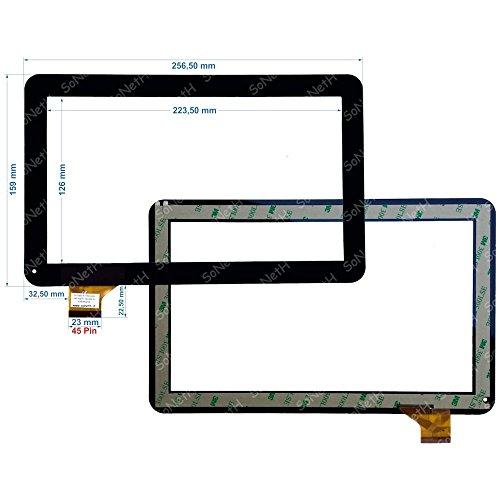 Soneth Touch Screen Majestic Tab 411 3G Vetro Digitizer 10,1  Nero