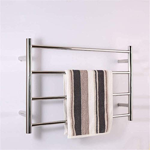 Estante de secado para toallero, calentador de toallas eléctrico de acero inoxidable 304 con 4 barras calefactoras, toallero caliente montado en la pared para baño, 500 800 120 mm (tamaño : hardWire)