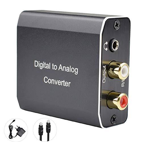 Tihokile Convertisseur Numérique vers Analogique Adaptateur Audio Coaxial Toslink(Optique) vers Stéréo L / R (RCA) et Prise Jack 3,5 mm, Compatible pour HDTVPS3 Boîte de DVD Sky Sky RAY Blue