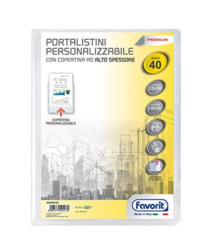 Favorit Portalistino Personalizzabile Premium, 40 Buste Lisce, 22 x 30 cm, Trasparente