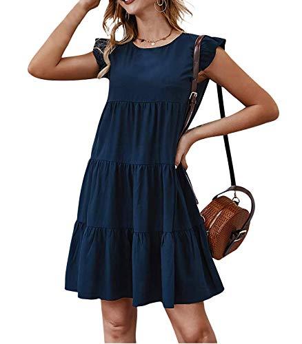 Cotrio Mini vestido de verão feminino de cor sólida vestido casual feminino de manga folgada com folga folgada plissado de verão M marinha