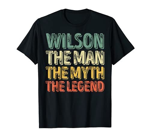 "Hombre Wilson The Man The Myth The Legend - Camiseta de manga corta con texto en inglés ""The Camiseta"