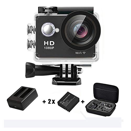 Action Camera 1080p 4K WiFi HD Underwater Camera Sport Action Cam Waterproof 12MP 30M 170° Wide-Angle 2.0'' LCD with 2 Batteries, USB Charger, Carrying Case, Accessories Kit, Black