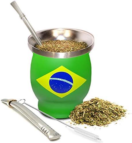 Yerba Mate Natural Gourd Tea Cup Set Brazilian Flag Brazil Original Traditional Mate Cup 8 Ounces product image