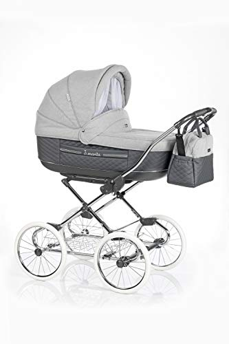 KINDERWAGEN BUGGY KOMBIKINDERWAGEN KLASSISCHER WAGEN RETRO MARITA (P-211 Grey-Grey Piqué Leather, 2in1)