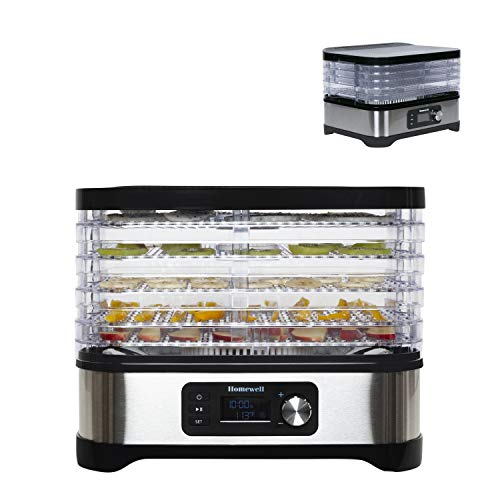 Homewell Food Dehydrator Machine Dryer for Fruits & Vegetables, Adjustable Timer, Digital Temperature Control, 5 Trays Stacking, 400 Watt