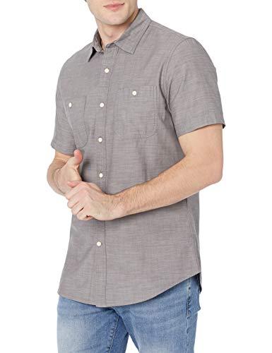 Amazon Essentials Slim-Fit Short-Sleeve Chambray Shirt Camicia, Grigio Scuro, L