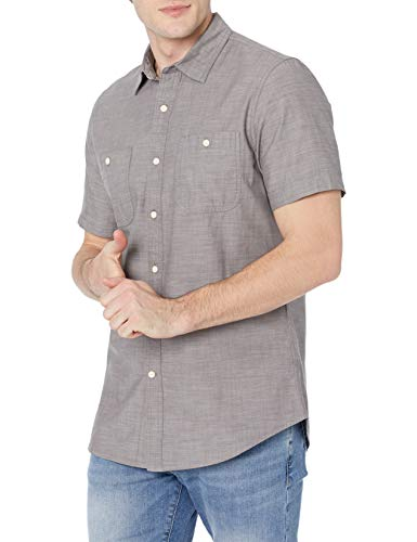 Amazon Essentials Slim-fit Short-Sleeve Chambray Shirt Camisa, Gris Oscuro, XL