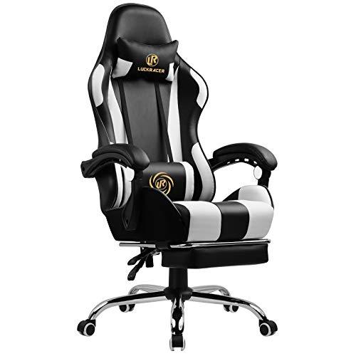 LUCKRACER Gaming Stuhl Massage mit Fußstütze Bürostuhl Massage Lendenkissen Drehstuhl Racing Armlehne PU Leder hohe Rückenlehne (weiß)
