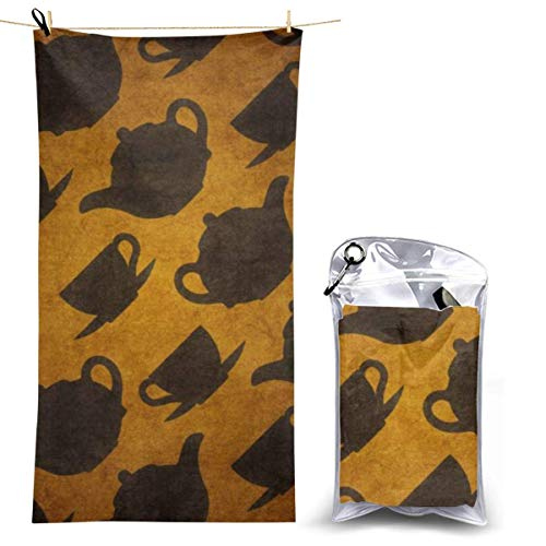 XCNGG Microfiber Beach Towel, Teapot and Cups Quick Fast Dry Towel Blanket Sand Free Soft Absorbent Lightweight Bath Towels for Beach, Bath, Swim, Travel
