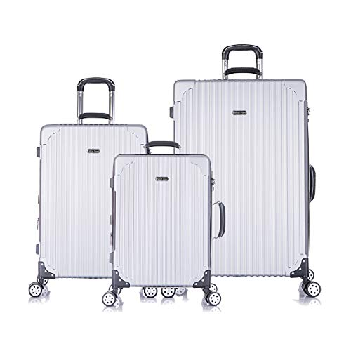 HyBrid & Company Luggage Set Durable Lightweight Hard Case Spinner Suitcase LUG3-LY69, 3 Pieces, Silver