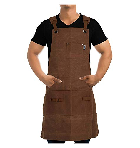 Work Apron For Men & Women By Premium Rhino - Heavy Duty Waxed Canvas - Multiple Tools Pockets - Adjustable Unisex Sizing - For Woodworking, Painting, Crafting, Cooking & Bartenders (Brown)