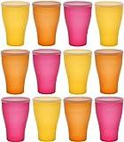 idea-station Neo Vasos plastico 12 Piezas, 450 ml, Verano-edicion, Cubierta, Reutilizable, inastillable, Duro, vajilla, Tazas, Copas, Vaso, niños, Infantiles, de Agua, cóctel, Fiesta