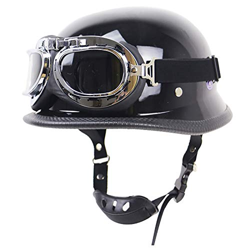 Casco De Moto Abiertos Retro Motocicleta Jet Casco Half-Helmet,Unisex Casco De Medio para Moto Crucero Chopper Retro Medio Casco con Gafas,ECE Homologado A,XXL=63~64cm