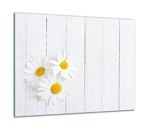 TMK - Placa protectora de vitrocerámica 60 x 52 cm 1 pieza cocina eléctrica universal para inducción protección contra salpicaduras tabla de cortar de vidrio templado como decoración Flores