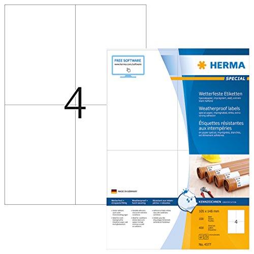 Herma 4377 - Etiquetas para impresoras (400 unidades), blanco