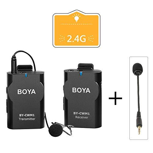 BOYA Wireless Lavalier Mikrofon System Kompatibel mit Android iPhone Tablet DSLR Kamera Camcorder