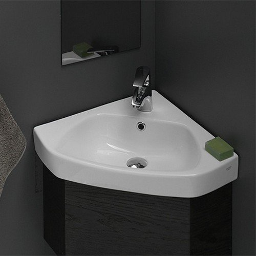 CeraStyle 001900-U-One Hole Arda Corner Ceramic Self Rimming/Wall Mounted Bathroom Sink, White