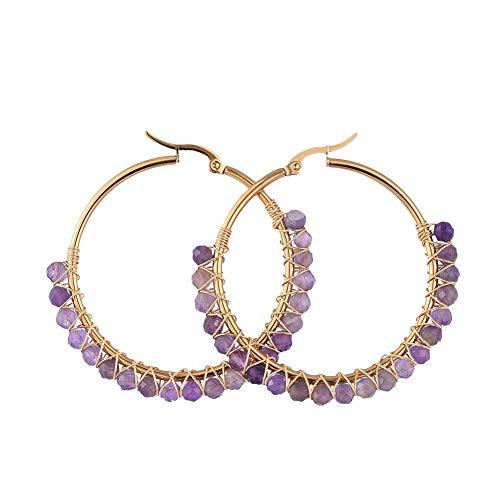 Ornaland Pendientes de aro de acero inoxidable chapado en oro, con perlas naturales de piedra de luna, pendientes hipoalergénicos, 50 mm Amatista