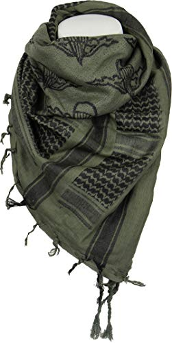 Mil-Tec PLO Cuello Pañuelo Shemagh (110x110 cm/Paratrooper Oliv/Negro)