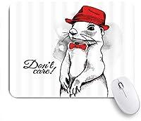NIESIKKLAマウスパッド 漫画かわいい動物のリスコスプレ紳士帽子帽子蝶結びと言って心配しないでください ゲーミング オフィス最適 高級感 おしゃれ 防水 耐久性が良い 滑り止めゴム底 ゲーミングなど適用 用ノートブックコンピュータマウスマット