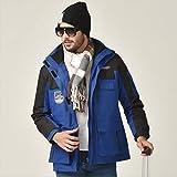 WPJ Traje de Esquí para Hombre, Chaqueta de Dos Piezas, Traje de Senderismo Impermeable y Cortavientos Desmontable Tres en Uno (Color : Azul, Talla : Pequeño)