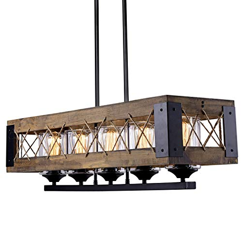 "Kitchen Island Lighting, Wood Farmhouse Chandelier, Dining Room Hanging Fixture with 5 Glass Globes, 32""L x 10""H"