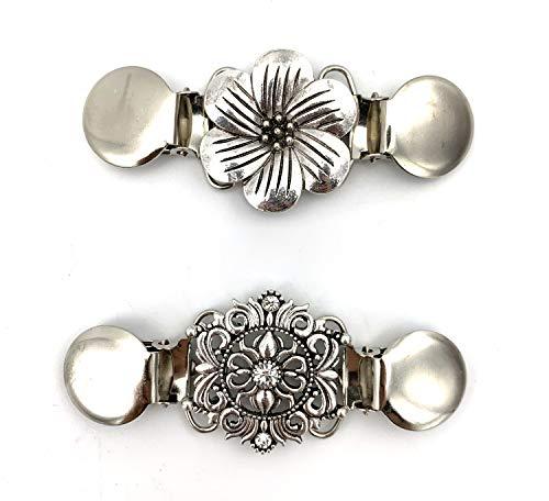 Careor clip per maglione e cardigan, con perline, elegante, confezione da 2 pezzi 2 fiori. Taglia unica