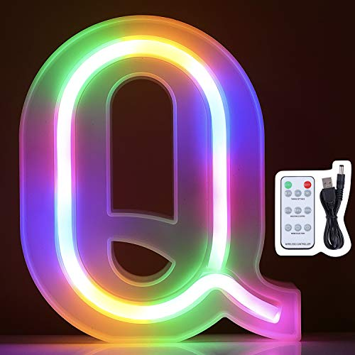 Marquee Letter Lights, Colorful Led Neon Signs, Upgrade Remote Control, Wall Decor Lihgt up for Home, Bedroom, Decoration on Wedding, Birthday, Christmas, Confession, Battery/USB Powered (Letter Q)