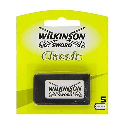 Wilkinson Sword Classic - Máquina de Afeitado Clásico Masculino + 5 Hojas de Afeitar de Doble Filo