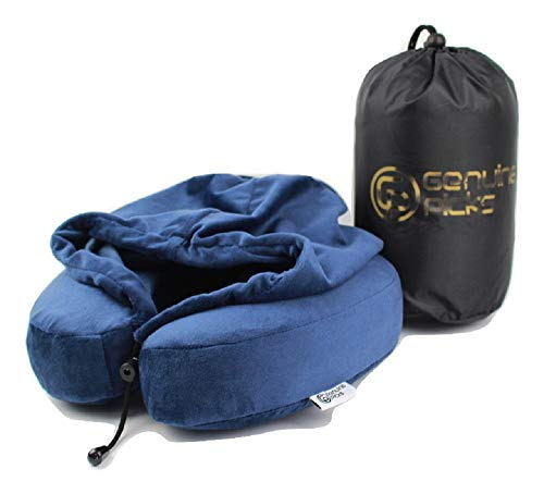 Genuine Picks Luxury Memory Foam Neck Pillow with Hoodie. Lovely Carrying Bag. Soft Quality Fabric. Travel Pillow. Comfortable U Shaped Pillow. Luxury Gifts Idea. (Blue)