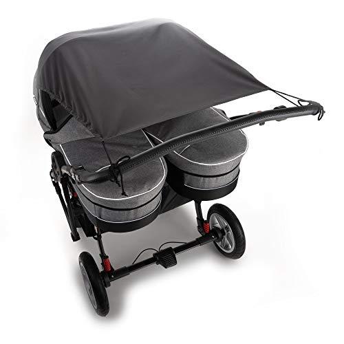 Universal Sonnensegel für Zwillingskinderwagen mit Babywanne/Sonnenschutz mit UV 50+ / Sonnenrollo Zwillingswagen und Zwillingsbuggy/großes Sonnenverdeck/Sonnenschutz - anthrazit