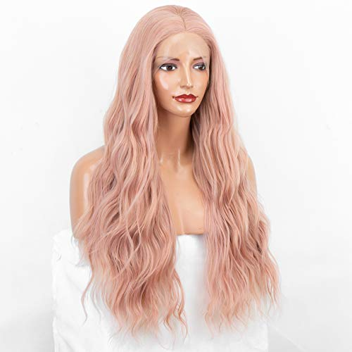 """Pink Lace Front Wig 24"""" Long Wavy Synthetic Wig Fashion Glueless Orange Pink Wigs for Women"""