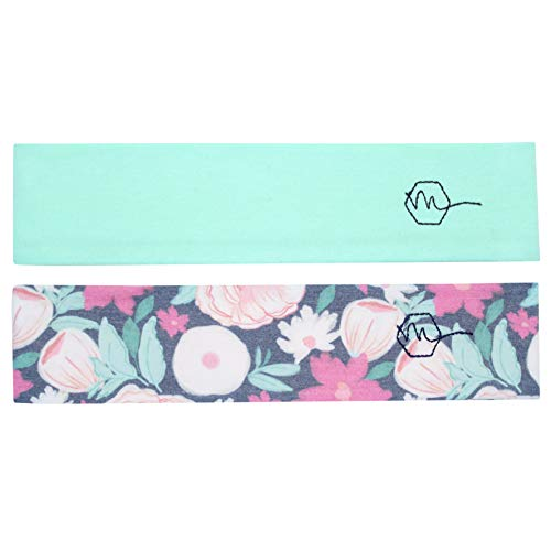 Maven Thread Womens Headband 2 Wide Yoga Running Exercise Sports Workout Athletic Gym Wide Sweat Wicking Stretchy No Slip 2 Pack Set Mint Floral Refresh