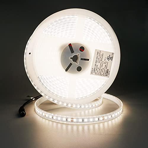 JOYLIT 24V Tiras LED Blanco Natural 4000K, 5M UL CE Listado CRI 90+ 90W Brillo Alto 6000LM Alta Densidad SMD2835 600 LEDs IP67 Impermeable Luces LED para hogar, armario, tienda y más