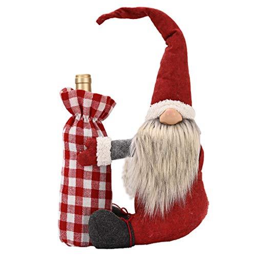 Fugift Cubierta para botella de vino tinto de champán y gnomo navideño, hecha a mano, decoración de tomte sueco, regalo de vacaciones