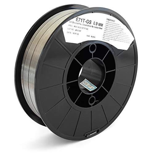 Bobina di filo animato in acciaio E71T-GS con protezione integrata per saldatura MIG no gas. Diametro 0,9mm, peso 5 Kg.