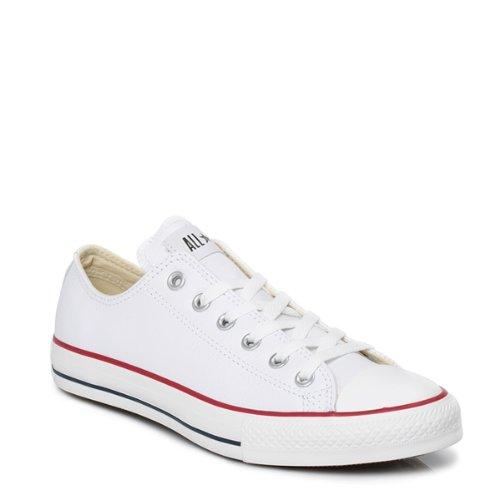 Converse Chuck Taylor Core Lea Ox, Zapatillas De Cuero Unisex Adulto, Blanco, 42.5 EU
