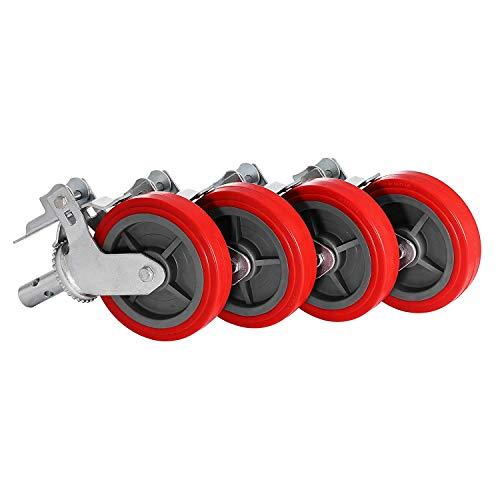 Mophorn 4 Bockrollen 20,3x 5,1cm Transportrollen rot Schwerlastrollen Laufrollen mit Bremse und Double-Lock System (4 rot)