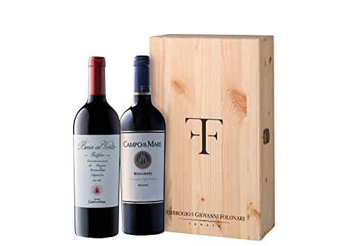 Cassetta 2 bottiglie: Bolgheri Campo al mare e Bolgheri Superiore Baia al Vento Ambrogio e Giovanni Folonari Cassetta di legno